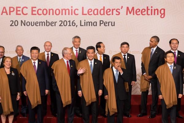 圖為去年APEC經濟領袖代表合影。(資料照,外交部提供)