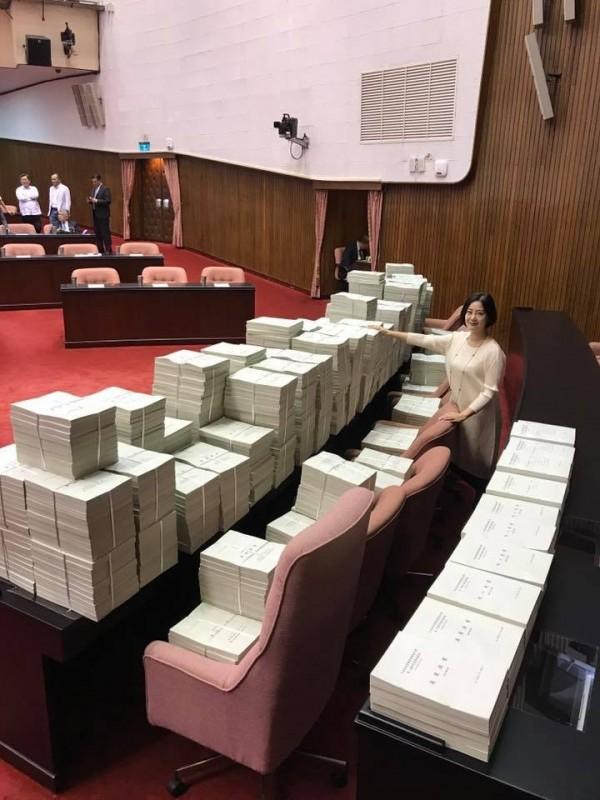 國民黨為了阻擋前瞻預算過關,提出上萬項提案,民進黨立委吳思瑤差點被淹沒。。(圖擷自吳思瑤臉書粉絲專頁)