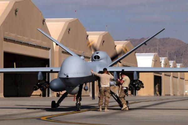 明年駐韓美軍首次配備的「MQ-1C灰鷹無人機」,能發射兩枚AGM-114地獄火飛彈。(資料圖 路透)