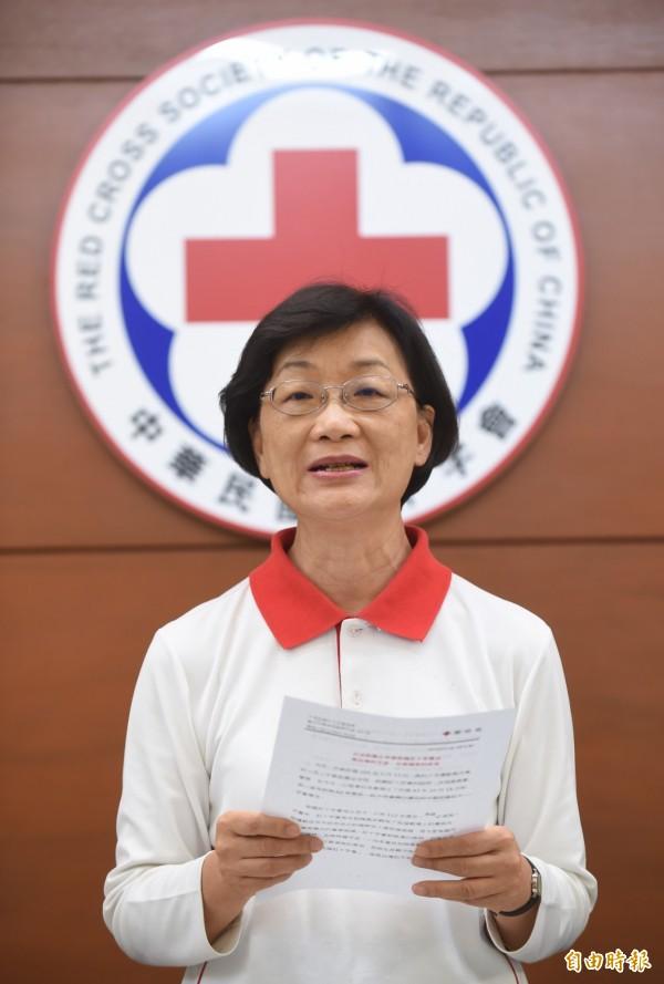 十字會會長王清峰向媒體透露,這次九寨溝震災,紅十字會只有收到1千元捐款,打擊很大。(資料照,記者劉信德攝)