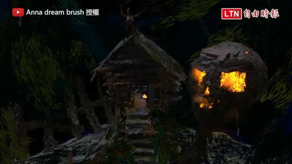 這幅畫作是使用Tilt Brush一筆一畫畫出來的,還可以走進房子裡面探險呢!(圖片由Anna dream brush授權提供使用)