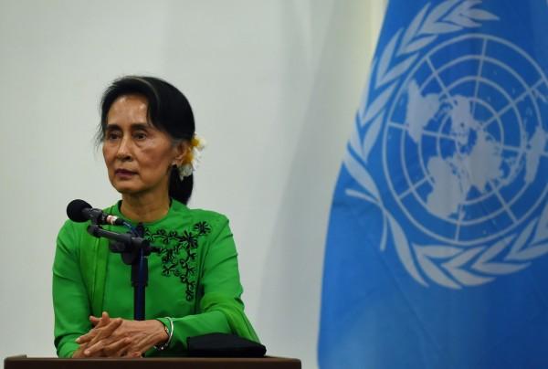 緬甸政府打壓羅興亞人,政府實際領導人翁山蘇姬飽受批評。(法新社)