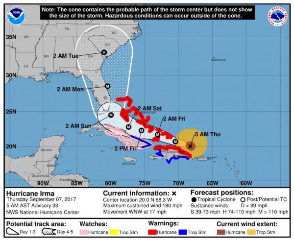 圖為颶風艾瑪走向預測,預計將在週末登陸美國佛羅里達州。(圖取自National Hurricane Center網站)