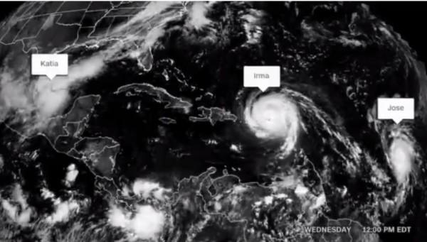 《CNN》統計,上次出現大西洋上3颶風同時存在的情景,要追溯到2010年。(擷取自《CNN》)