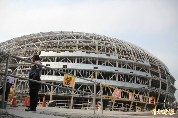 大巨蛋有關維護安全部分,去年就陸續開始施工。(資料照,記者鍾泓良攝)