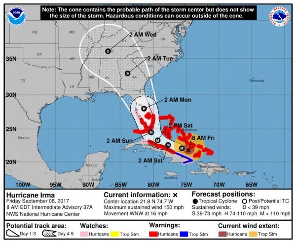 艾瑪颶風(Irma)今天(8日)下修為4級,但仍極端危險,持續直撲美國佛羅里達州。(翻攝自臉書)