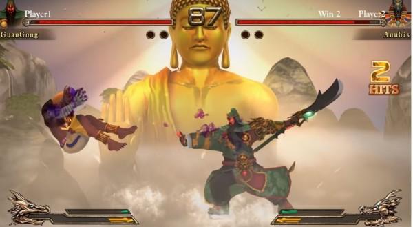 在這款遊戲中玩家們可以選擇各路神明展開戰鬥,圖為遊戲試玩畫面-關公大戰阿努比斯神。(擷取自YouTube)