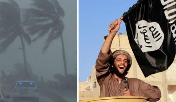 颶風艾瑪即將襲美,許多IS成員大肆慶祝,並將其視作「真主派來的士兵」。(合成照,擷取自《太陽報》)