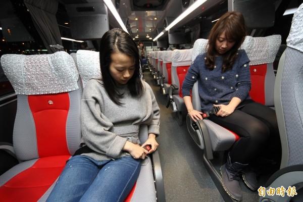 大客車全車繫安全帶,農曆年前上路(資料照,記者鄭瑋奇攝)