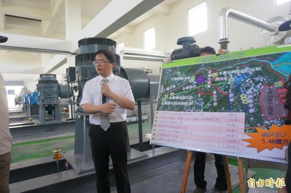 台南市代理市長李孟諺視察永康分洪抽水站。(記者黃文瑜攝)