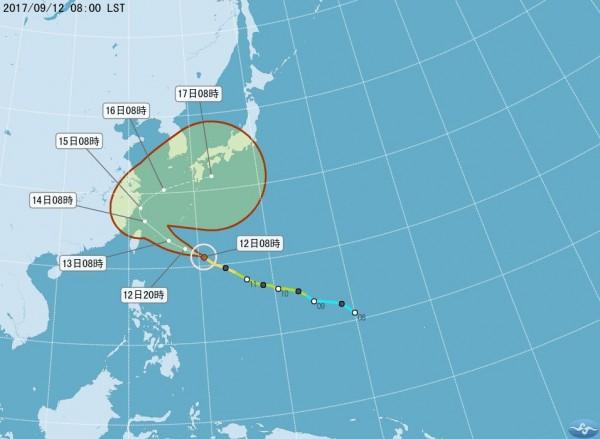 泰利颱風路徑持續北修。(圖擷取自氣象局網站)