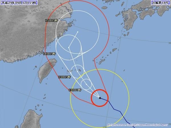 沖繩氣象台稍早進行記者會說明時指出,石垣島、宮古島周邊可能出現重大損害,呼籲民眾盡早做好防颱準備。(圖擷取自日本氣象廳)