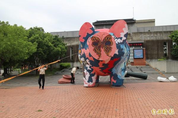 擔心神豬被風「拐走」,新竹縣政府文化局派員繫繩固定以保平安。(記者黃美珠攝)