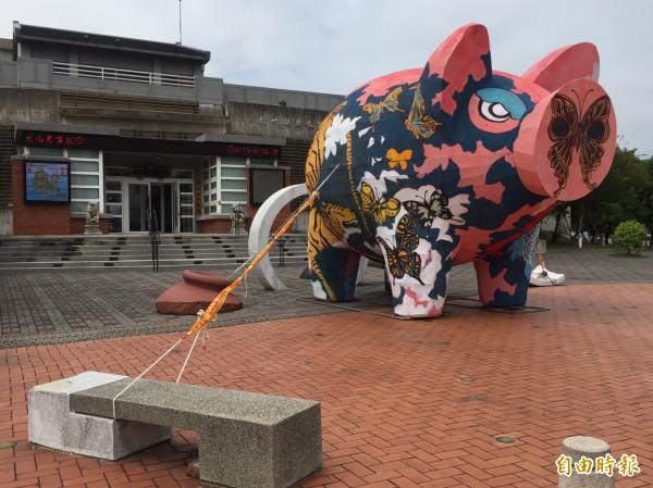 當做地景裝置藝術的創意彩繪神豬,被五花大綁防颱。(記者黃美珠攝)