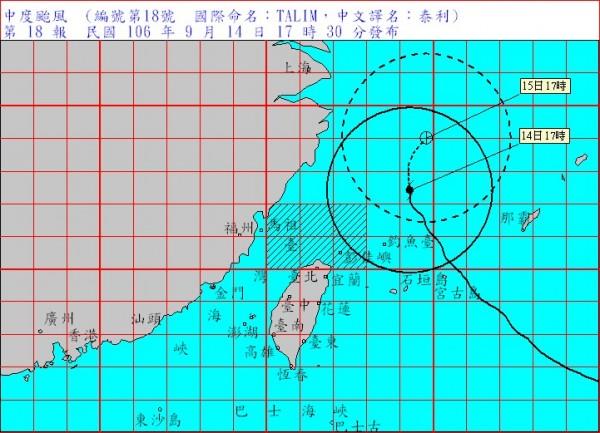 泰利颱風今日下午5時中心在台北東北方約380公里海面,預計將以緩慢的速度向北轉東北方向移動,朝日本方向前進。(圖擷自中央氣象局)