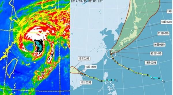 泰利颱風路徑多變,原本各國預報單位都預測會侵襲台灣,但它最後卻北轉。(圖取氣象應用推廣基金會)