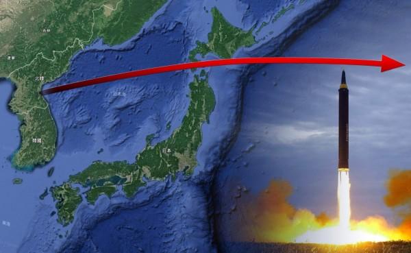 北韓在台灣時間5點57分,發射一枚導彈飛越日本北海道上空,飛行高度約770公里,飛行距離約3700公里。(本報合成)