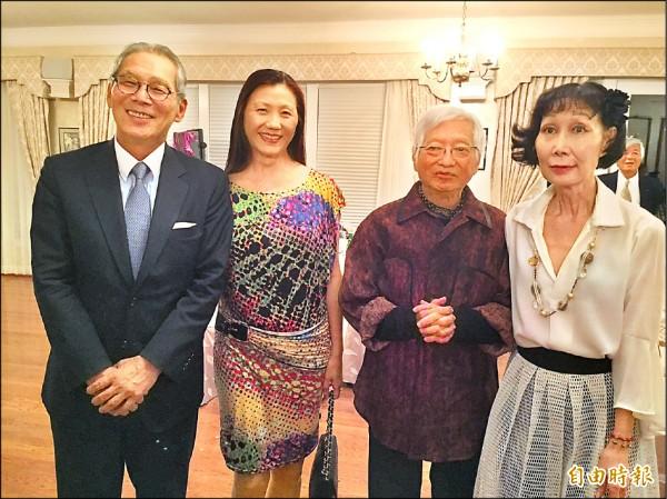 柯錫杰(右二)與妻子樊潔兮(右一)應台灣駐美代表高碩泰夫婦邀請到雙橡園。(記者曹郁芬攝)