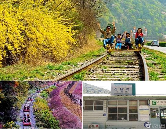 韓國許多觀光景點設有鐵路自行車系統,帶動鐵道旅遊新風潮。(取自韓國觀光公社網站)