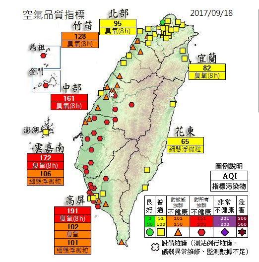 隨著大氣環境配置進入秋冬模式,南風逐漸減弱消失,中南部地區空氣品質也隨季節逐漸惡化,進入為期半年的「空污季」。(圖擷自空氣品質監測網)