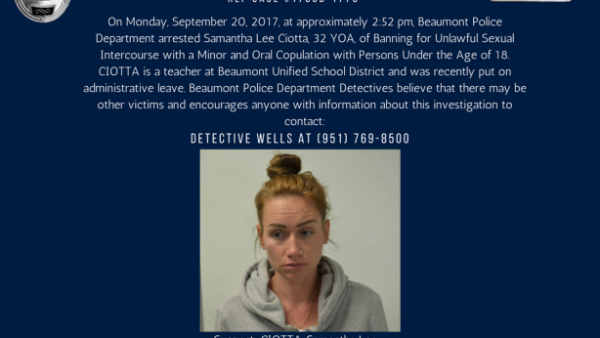 美國加州女教師莎曼沙‧奇歐塔(Samantha Lee Ciotta),本周三被控「與未成年學生發生長達數月的性關係」後逮捕。(圖片擷取自博蒙特警方官方網站,http://www.beaumontpd.org/)