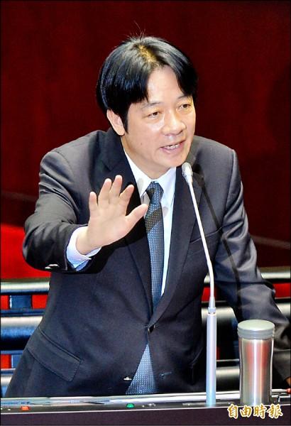行政院長賴清德昨在立法院答詢時表示,自己是主張台灣獨立的政治工作者,成為我國首位在國會殿堂公開主張台獨的閣揆。(記者王藝菘攝)