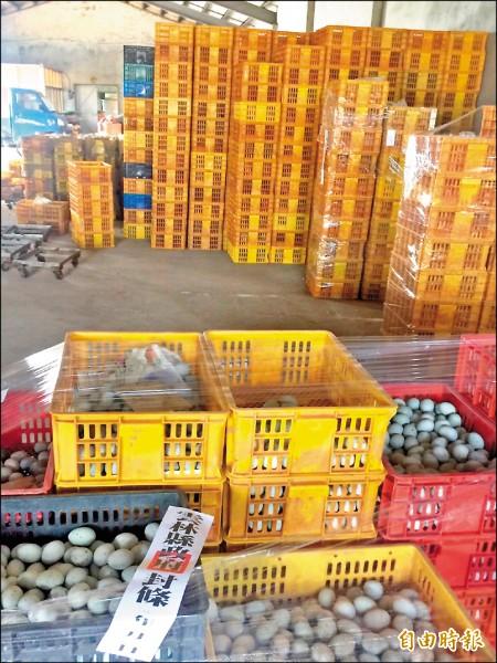 雲林縣衛生局針對永信蛋鴨場有疑慮的蛋鴨、鴨蛋、蛋黃管制移動。(記者廖淑玲攝)