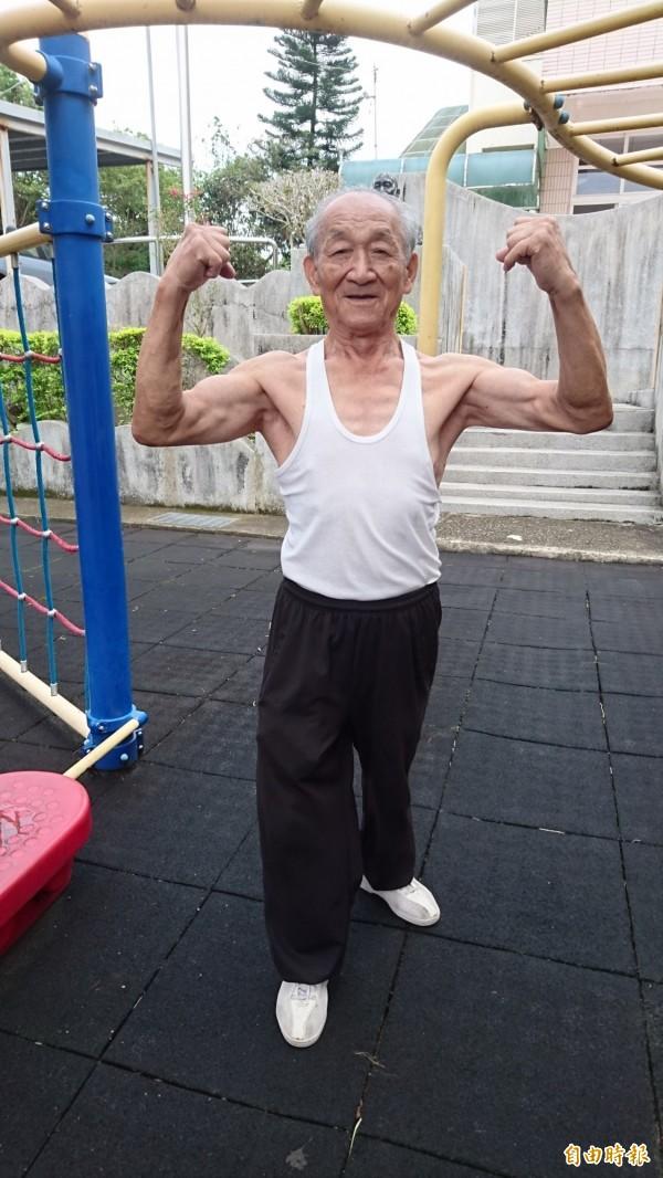 十八年次的羅德祥,練就一身結實、健壯的體格。(記者彭健禮攝)