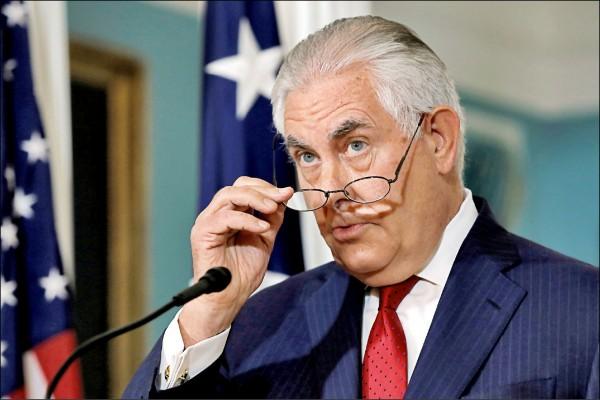 美國國務卿提勒森四日在國務院發表聲明,強調自己無意請辭。(路透)