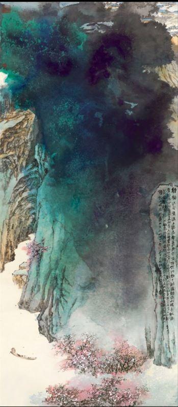張大千代表作〈桃源圖〉,去年以2億7000萬港元(約新台幣11億2600萬元)在香港拍賣成交。(圖擷取自蘇富比官網)