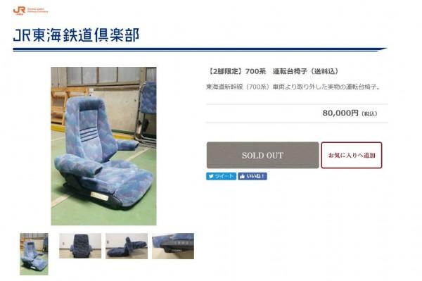 日本東海旅客鐵道公司,成立專門販售鐵道零件的網站。(圖擷取自JR東海鐵道俱樂部)