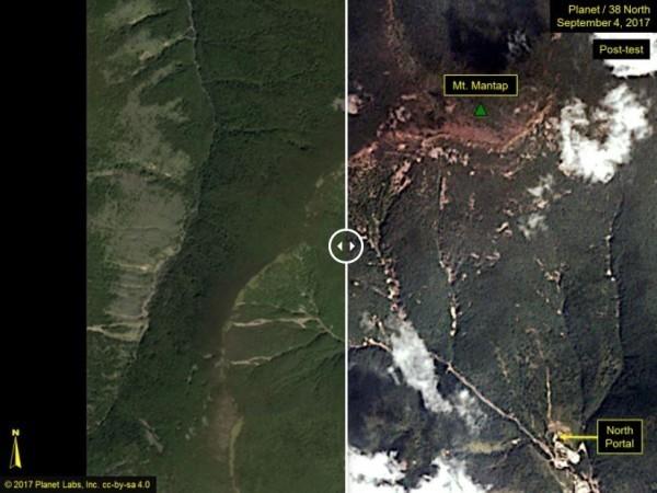 此為北韓第6次核試爆前後,豐溪里核試場周邊地貌大規模改變的對比圖。(圖擷自38north.org)