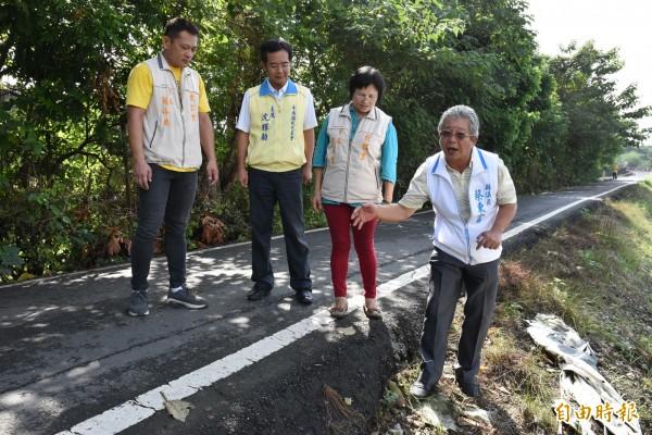 斗南市永安街通往東外環一段約1公里長道路路寬僅2.5米,邊坡落差超過50公分高,會車時險象環生。(記者黃淑莉攝)