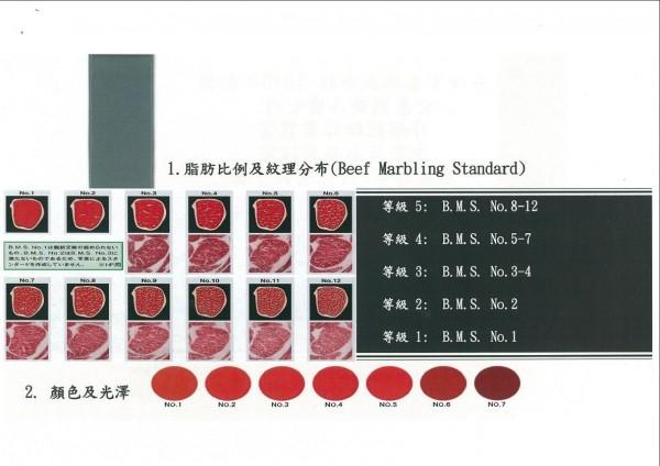 牛肉得脂肪比例及紋理分布,稱為BMS共分為12等。(記者王捷翻攝)