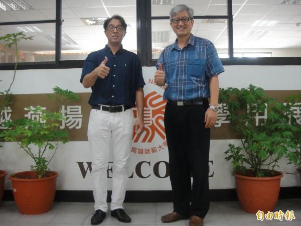 林相儒(左)發現「五爪金英」內含的草本活化劑,有助糖尿病患者降低血糖。(記者洪定宏攝)