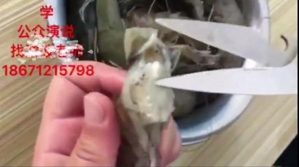 影片中把蝦頭殼剪開,裡面露出白白的東西。(圖擷自網路影片)