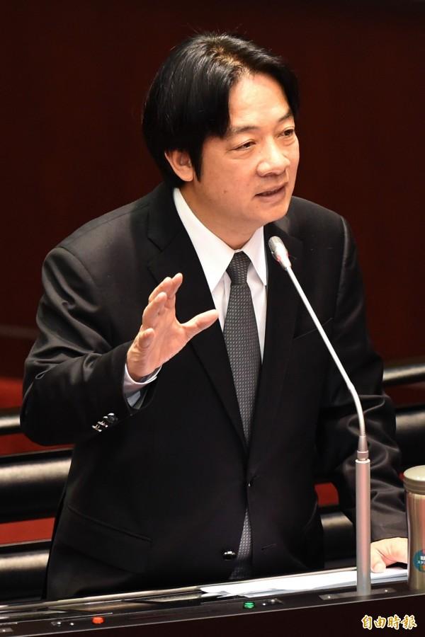 行政院長賴清德24日在立院院會答詢時強調,台灣民眾不需服膺中國法律。(記者朱沛雄攝)