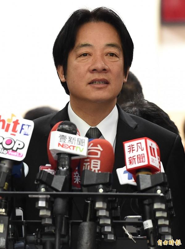 行政院長賴清德24日出席立院院會前接受媒體訪問。(記者朱沛雄攝)