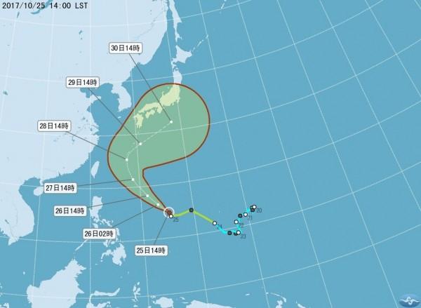 蘇拉颱風路徑預估。(擷取自中央氣象局網站)
