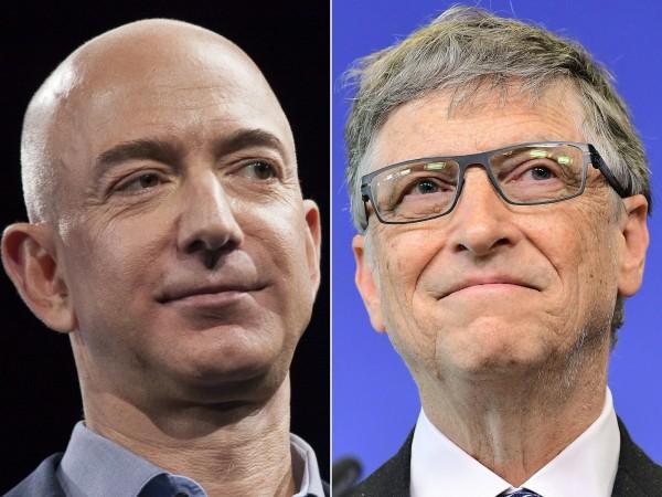 外界認為貝佐斯(左)和蓋茲(右)的全球首富競爭會持續下去。(法新社)