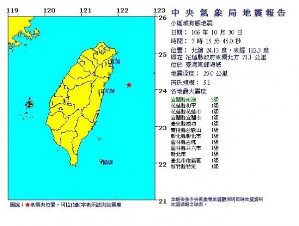 台灣時間今(30)日上午7點15分發生,芮氏規模5.1地震(圖片擷取自中央氣象局)
