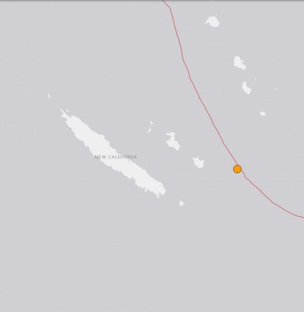位於澳洲附近的法屬新喀里多尼亞稍早法生一起規模達7.0的強震。(圖擷取自USGS網站)