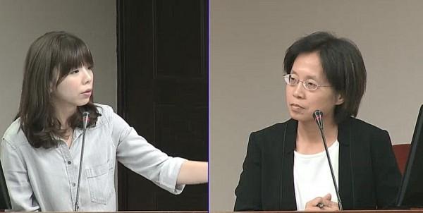 時代力量立委洪慈庸(左)質詢勞動部政務次長廖蕙芳(右)。(取自立法院議事直播)