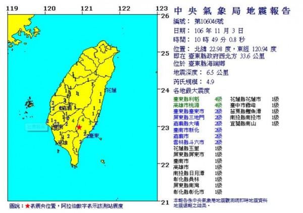 1分鐘後(10時49分),台東縣政府西北方33.6公里,又發生規模4.9地震,深度6.5公里。(圖擷取自中央氣象局)