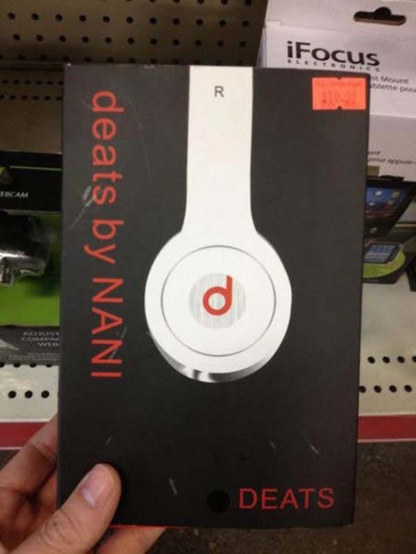 山寨版的DEATS重低音耳罩式耳機。(圖擷取自GO SOCIAL)