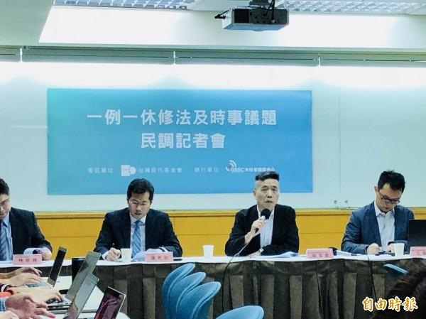 台灣世代智庫今天公布最新民調結果。(記者呂伊萱攝)
