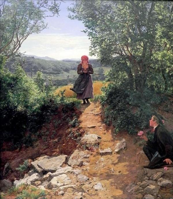 在風光明媚、綠意盎然的鄉野小路中,一名男子半跪姿拿著一朵鮮花,等待著少女從小路踏來。(圖擷取自太陽報)