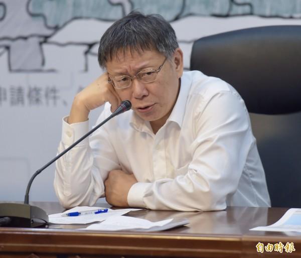 柯文哲說,BOT在台灣污名化,已經到走火入魔的地步。(記者黃耀徵攝)