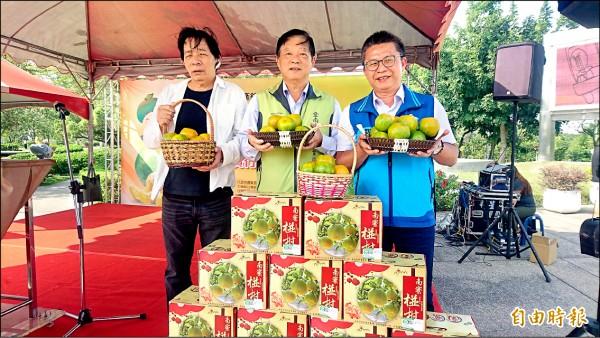 通過產銷履歷認證的台南青皮椪柑,昨天起在福高東山服務區行銷販售。(記者楊金城攝)