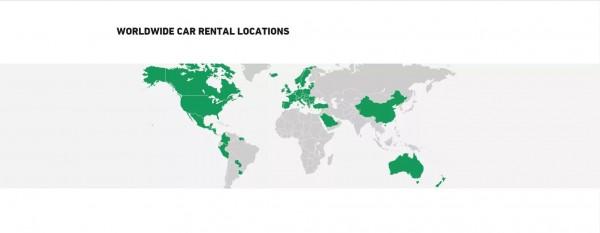企業租車」官網上的世界地圖中,台灣也被劃到了中國之外。(圖擷自「企業租車」官網)